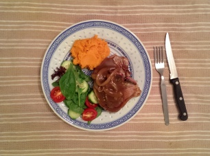 Lamb Chops with Sweet Potato Mash, Salad and Onion Gravy