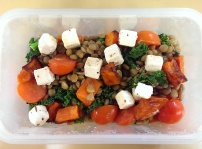 kale, lentils, sweet potato, cherry tomatoes and marinated feta