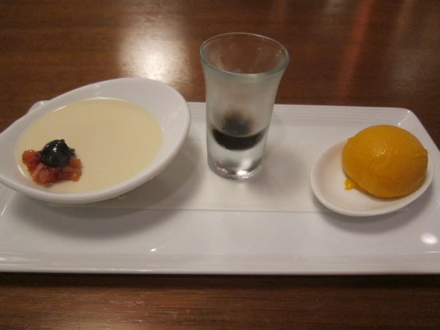 daily selection of dessert soy milk blancmange, okinawa brown sugar syrup, homemade sorbet