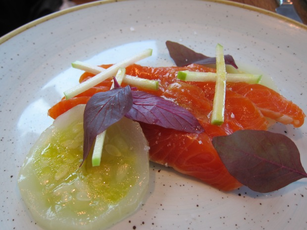 house-cured Petuna ocean trout, apple, cucumber, yuzu