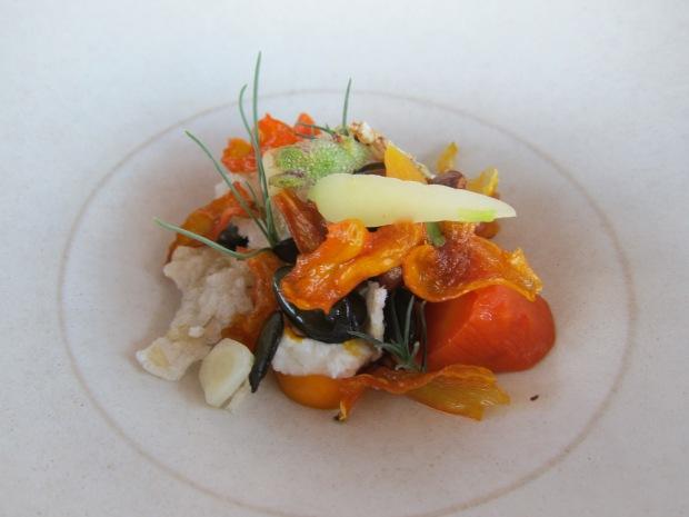 salad of slow cooked carrots, sheep milk feta, smoked almonds, sherry caramel, pepitas, agretti