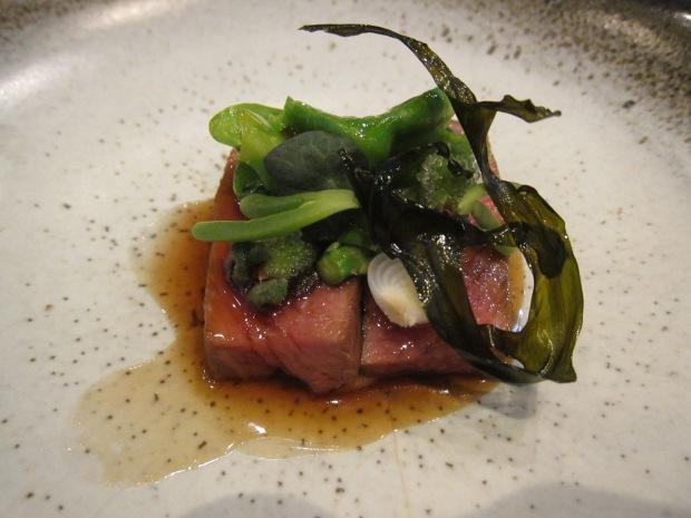 Arkady lamb, ice plant, seaweed, black garlic, mountain spinach, Barletta onions, nasturtium